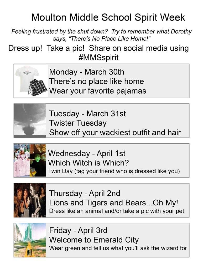 Spirit Week March 30th-April 3rd