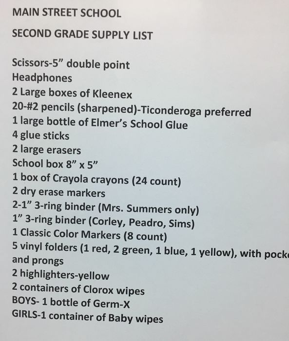 2nd Grade Supply List 2018-2019
