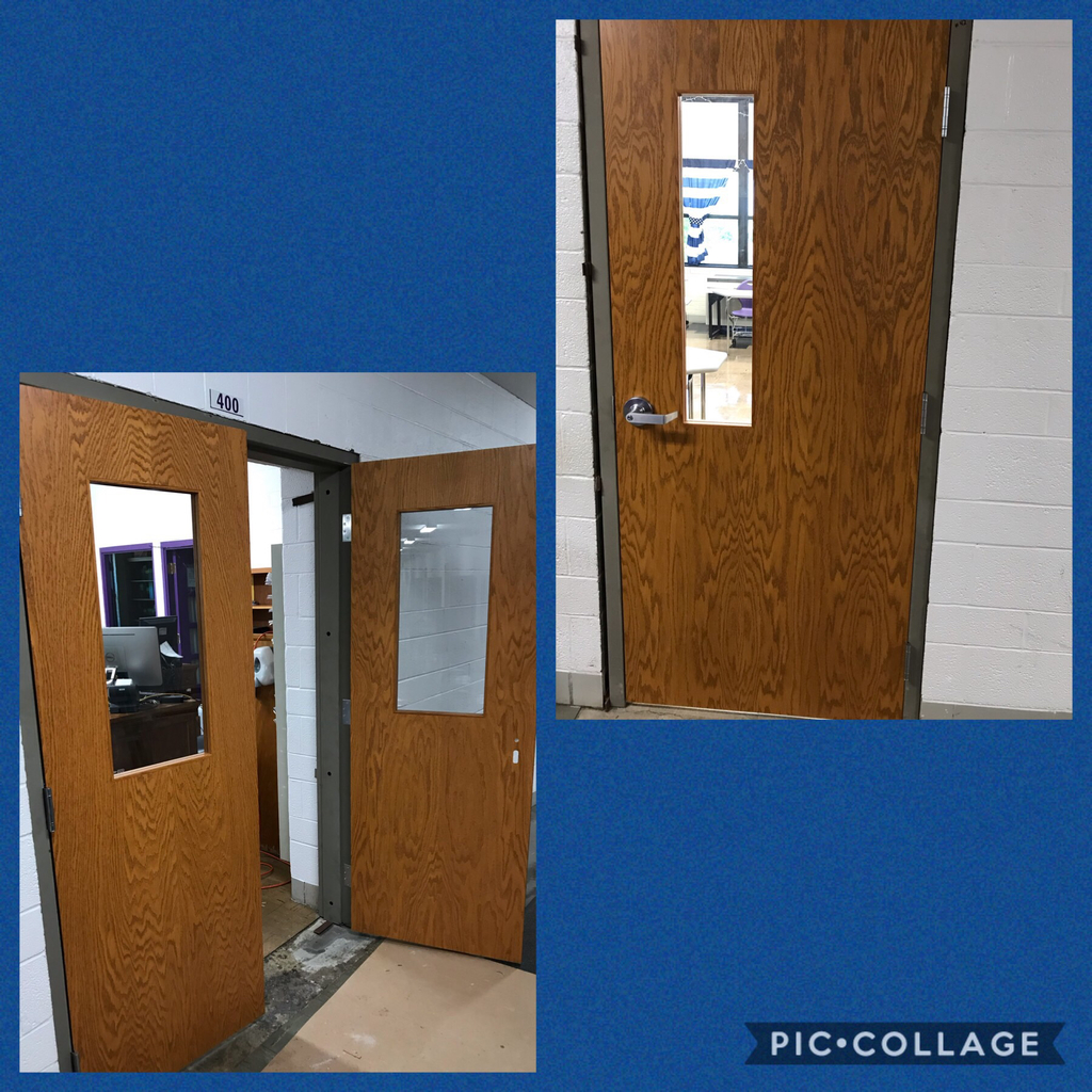 New classroom doors are being installed at the high school!  In addition to looking fantastic, these doors will help to ensure student safety for the many years to come.