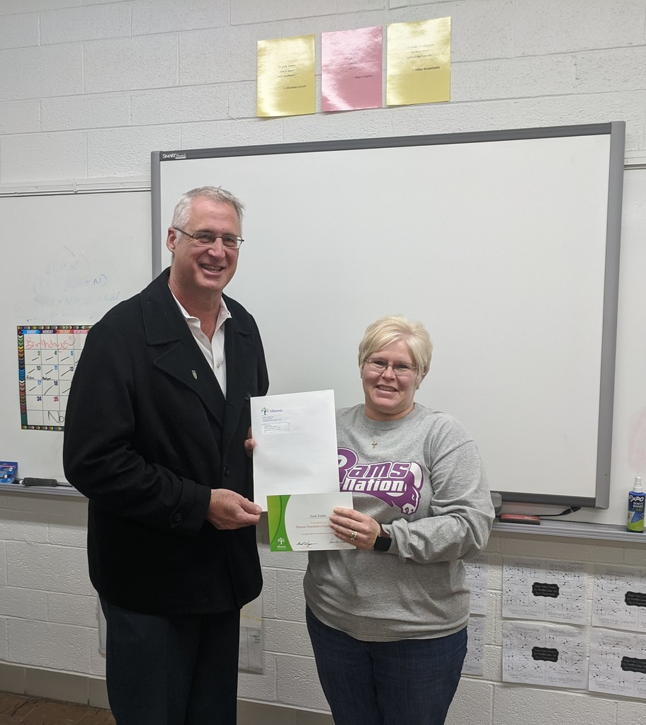 Congrats to Mrs. Tomlin! $100 TPT grant courtesy of Meemic Insurance
