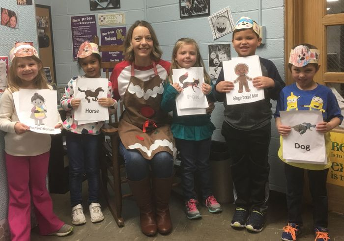 "Mrs. Kuhl had some students perform (Reader's Theater Style) ""The Gingerbread Man"" for Mrs. Bunton's Reading Group"