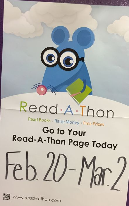 "PTO ""READ-A-THON"" kick-off Monday, February 12th. READING Sessions will run Feb. 20th - March 2nd"