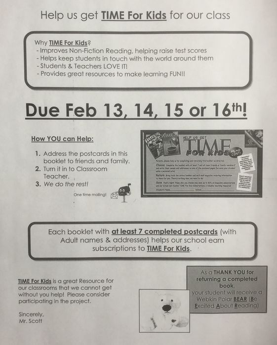 """TIME for Kids"" Informational Letter"